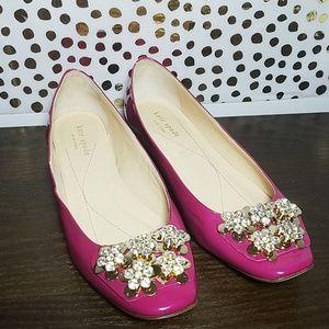Kate Spade Fuchsia Nicolina Crystal Jewel Flats